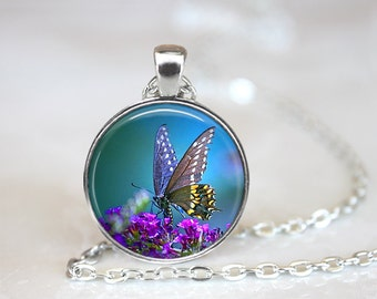 Beautiful Butterfly Glass Pendant, Photo Glass Necklace, Glass Keychain