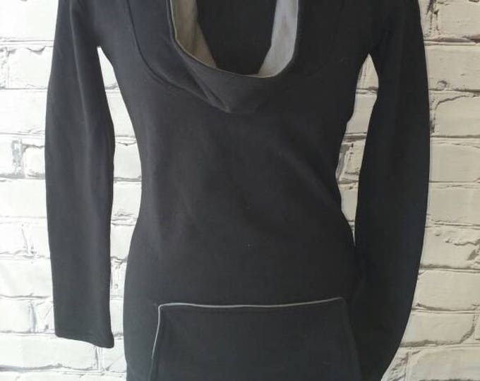 Black Organic Cowl Neck Sweatshirt