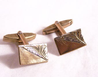 Vintage 9ct Gold on Silver Cufflinks, 1950's Cufflinks, Engine Turned Cufflinks, Mens Gift, Mens Jewelry, Rectangular Cuff Links