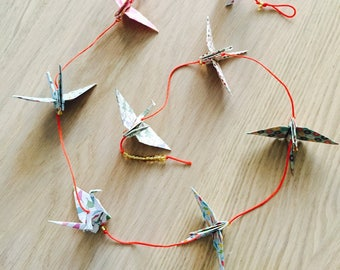 Origami Garland - 9 cranes in color and patterns