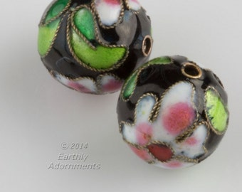 Vintage black cloisonné rounds. 20mm. Sold individually. b2-566(e)