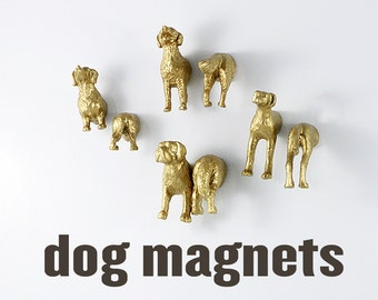 Gold Dogs Magnets - 8 piece set - These friendly guys won't bite (unless you take something from the fridge that isn't yours)