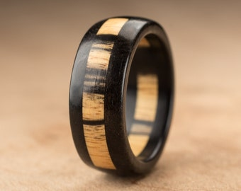 Size 7.5 - Pale Moon Ebony Wood Ring