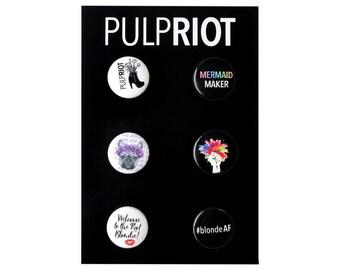 Set of 6 PulpRiot Buttons