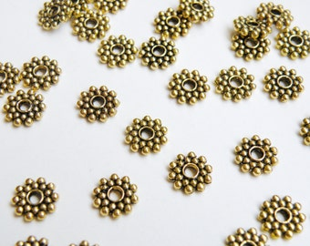 50 Beaded rondelle daisy snowflake spacer beads antique gold 8mm DB01105