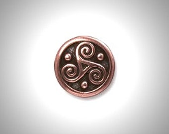 Copper Triskelion Lapel Pin Celtic Boutonniere Triskele Tie Tack, Irish Jewelry Brooch Groomsmen Gift Celtic Jewelry Outlander Lapel Pin