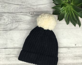 Black knitted beanie hat cream pom pom hand knitted merino hat etsy black and white hat womens hat adopted mother mother in law knit hat