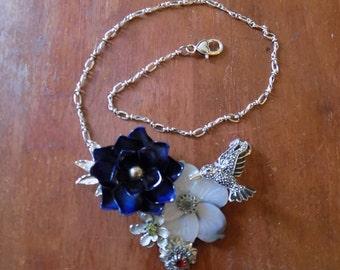 Recycled Handmade Flower Bib Necklace