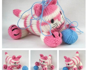 Cupcake the kitten - toy cat knitting pattern - PDF INSTANT DOWNLOAD