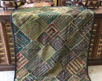Antique Vintage  Original Tapestry khakhi Green Hand Crafted Beaded RUG Wall Hanging Decor FREE SHIP