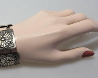 Large Vintage Link Bracelet Antiques Silver Tone