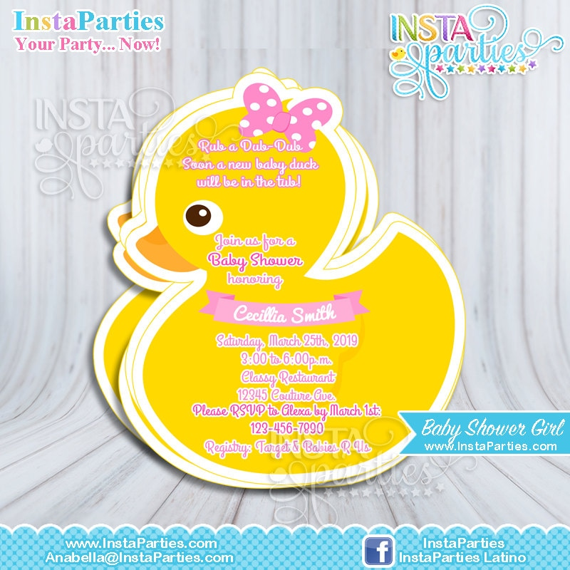 Rubber Duck Invitations Baby Shower boy girl Baby Ducky