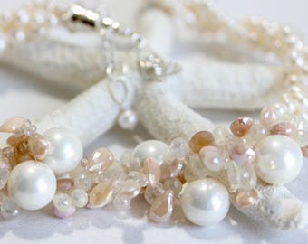 Pearl Bridal Statement Necklace, Blush, Pink, Bridal Statement Necklace, Multi Strand Twist Necklace, Freshwater Pearls, Gems, Sterling