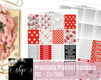 Printable Planner Stickers - Holly Jolly / Erin Condren Planner Stickers / Floral Printable Stickers / Weekly Sticker Kit / Cut Files