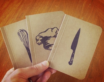 3 Cooking Notebooks Set, Cooking Journals, Original Handmade Mini Diaries and Jotters, Recipe Notebooks