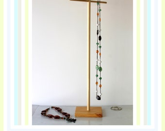 Long & Tall Jewelry Organizer, Long Necklace Storage, Craft Show Display Rack, Lanyard Tree, Retail Store Holder Tie, Natural Wood Beeswax