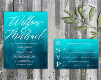 Turquoise and white wedding invitation, blue and white wedding invitation, printable custom wedding invitation, blue watercolor wedding kit