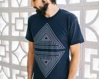 Clothing Gift Boyfriend, Geometric Screen Print Tshirt Men, Navy Blue Graphic Tee, BlackbirdSupply Sale - LAST PRINT RUN