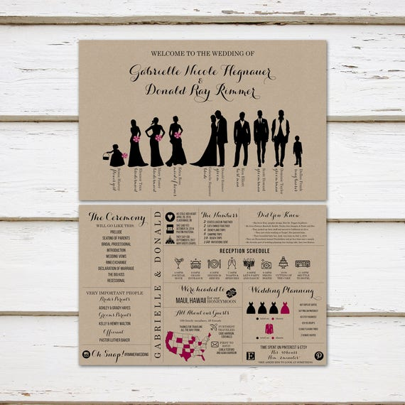 Unique Wedding Reception Program Ideas: Printable Fun Infographic Wedding Program Unique Wedding