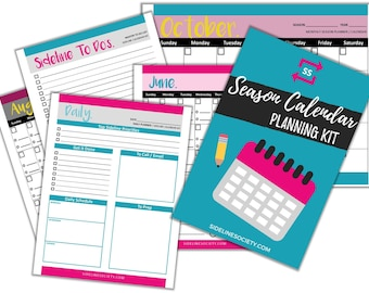 Season Calendar Planning Kit - Printable, Planner, Calendar, Organizer, Sports, Youth Sports, Daily, Weekly, Monthly, To Do, Editable
