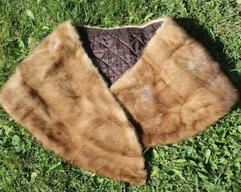 brown mink fur collar, fur scarf