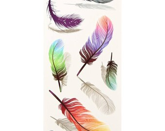 Temporary tattoo feathers 3 D.