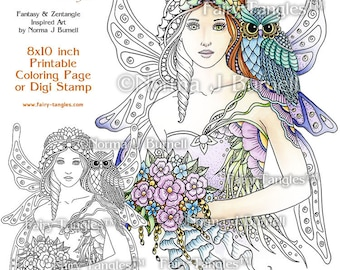 Fairy Bride Fairy Tangles Printable Coloring Book Pages and Sheets by Norma J Burnell fairies and owls to color for Digital & Adult Coloring