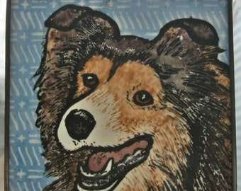 Collie or Sheltie  Stained Glass Dog Suncatcher JRN76