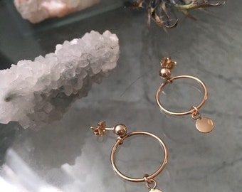 NIMES Hoop Earrings | dainty gold hoops | classic hoop earrings | tiny charm gold hoops | small gold hoops