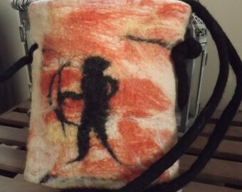 Primitive style  felted bag made from natural wool inspired by Cave Art imagery