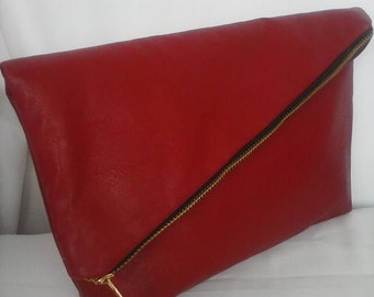 Many colors ! Red navy bronze  ivory black brown gray gold vegan leather clutch Rustic Wedding fold over clutch BBsCustomClutches
