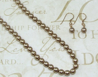 Taupe Glass Pearl Earring and Necklace Set, 16 Inch Pearl Jewelry Set, Gift for Her