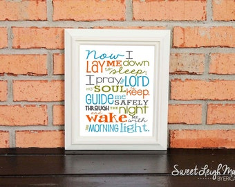 Now I Lay Me Down to Sleep Prayer – Boy – Bedroom – Newborn Boy - Aqua Orange Green Gray - Christian Art - Baptism Gift - Christening Gift