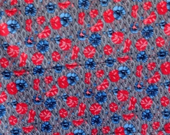 Printed by the yard grey and red and blue pattern fabric flowers
