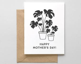 Potted Plants Letterpress Mother's Day Card