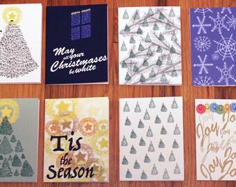 "SALE - Printable Holiday Cards set of 8 - Printable Christmas Cards - Instant download Seasonal Greeting card - 4.25"" x 5.5"""