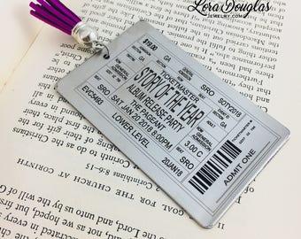 Concert Ticket Bookmark, Metal Bookmark, Engraved Bookmark, Personalized Bookmark, Concert Ticket, Concert Memorabilia, Music