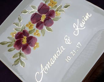 Wedding Cake Plate- Wedding gift for bride and groom- Wedding Keepsake- personalized plate- Anniversary gift wedding gift-floral Gold-silver