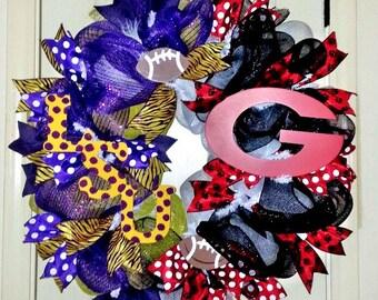 House Divided wreath, Team spirit wreath, LSU/GA Bulldogs wreath, Collegiate wreath