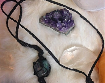 Purple and Green Flourite Macrame Necklace