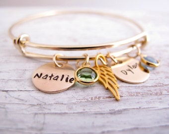 Personalized Mother's Bracelet, Gold Plated, Hand Stamped, Grandmother Bracelet, Kids Initials, Birthstones, Mother's Day Gift