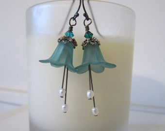 Flower Bead Earrings (Lily) - Lucite - Teal Blue