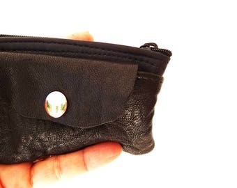 Small Leather Coin Purses, Black Coin Purse, Small Men Wallet, Zipper Coin Purse, Small Zipper Coin Purse, Leather Accessory, Leather Cards