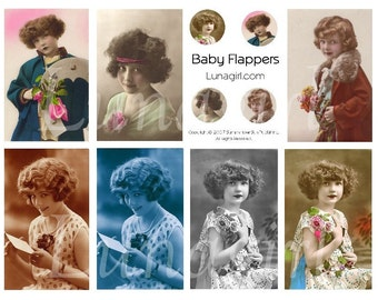 GIRLS FLAPPERS collage sheet digital DOWNLOAD vintage images photos children altered art ephemera tags charms circles