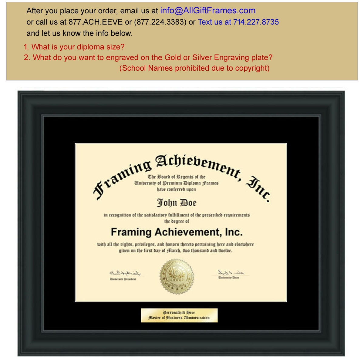 College Diploma Frame Engraving Plate Black Mat - Satin Black ...