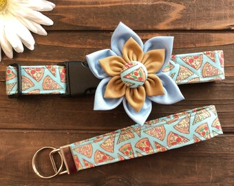 Dog collar, collar with flower, pizza dog collar, food dog collar, picnic dog collar, junk food collar, pizza key fob , match my dog
