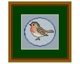 Robin Bird Cross Stitch. Spring Pattern. PDF Chart. Instant Download.