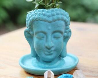 Buddha Planter in Stoneware with Matte Turquoise Glaze