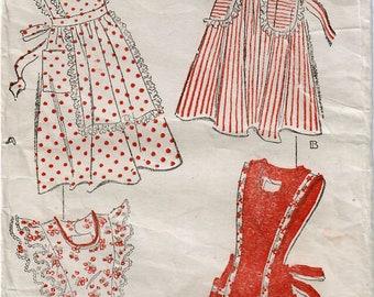 1940s New York 683 Vintage Sewing Pattern Misses Full Apron, Bib Apron, Pinafore, Princess Apron Size 20 Bust 38
