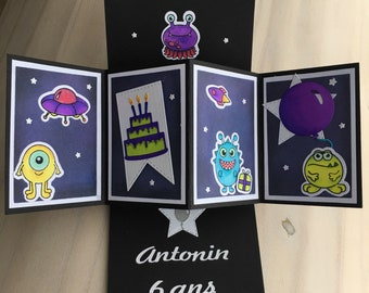 Customizable birthday - little monsters card